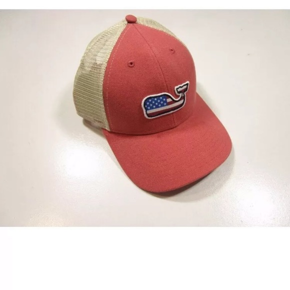 66ddc828a67 Vineyard Vines Pink red Whale Trucker Mesh Hat